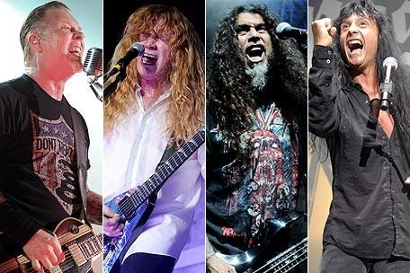 Metallica's James Hetfield, Megadeth's David Mustaine, Slayer's Tom Araya, and Anthrax's Joey Belladonna