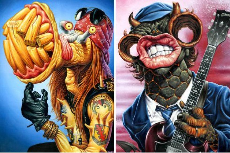 illustrator creates monsters of rock series featuring axl rose and